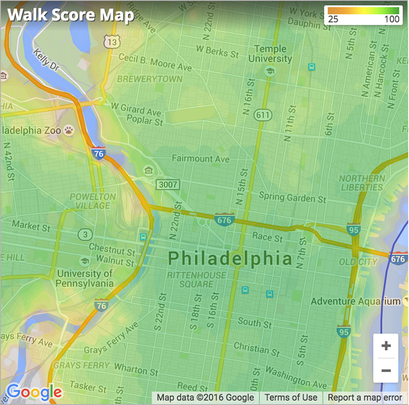 philadelphia walk score map