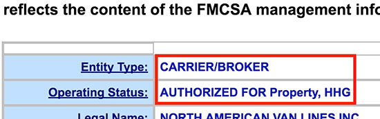 fmcsa safer database moving company and broker authority