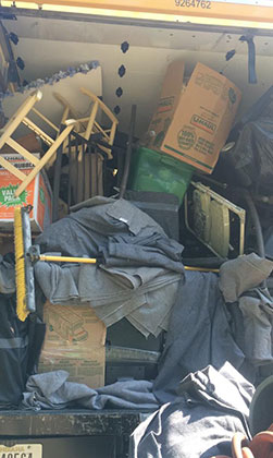 poorly packed moving truck