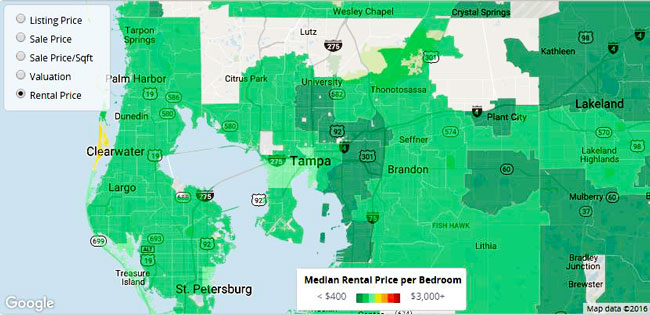 Trulia Tampa rental prices and heat map