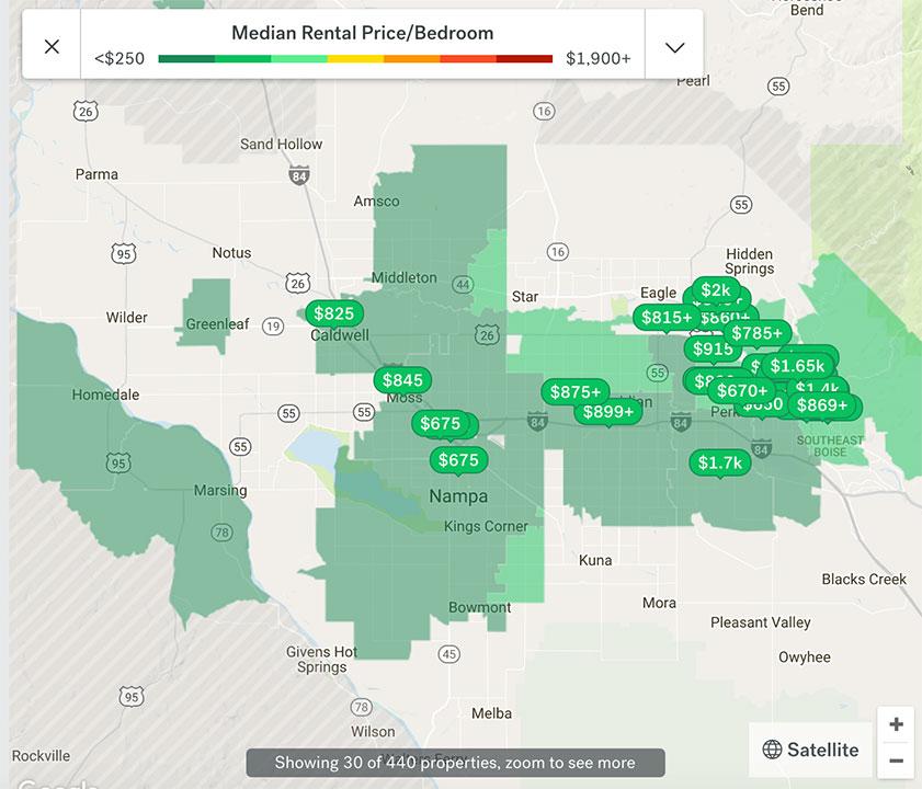 Boise Rent Hotspot Map