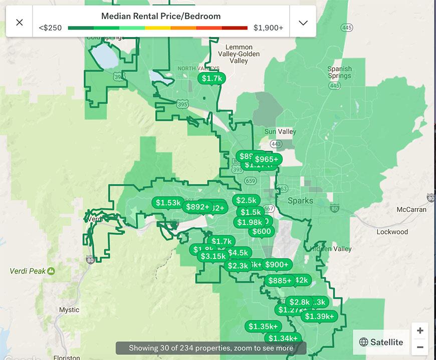 Reno Rent Hotspot Map