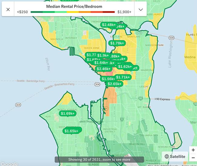 Seattle Rental Hotspot Map