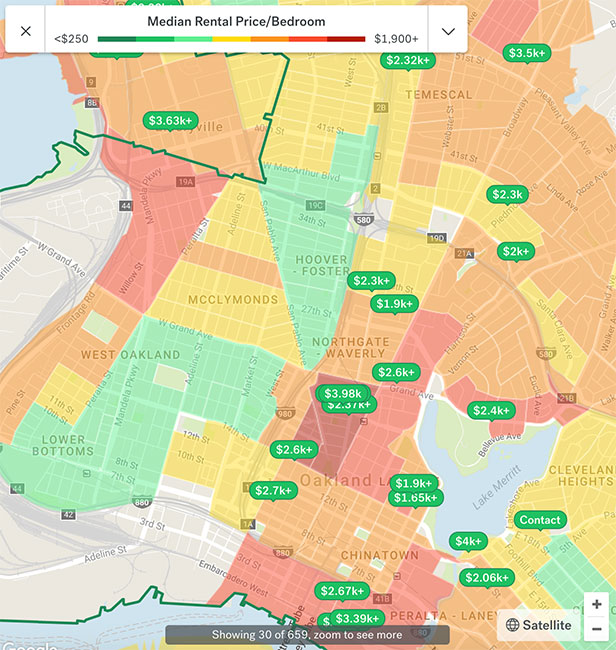 Oakland Apartment Rent Map 2018