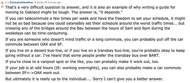 oakland san francisco california commute reddit answer