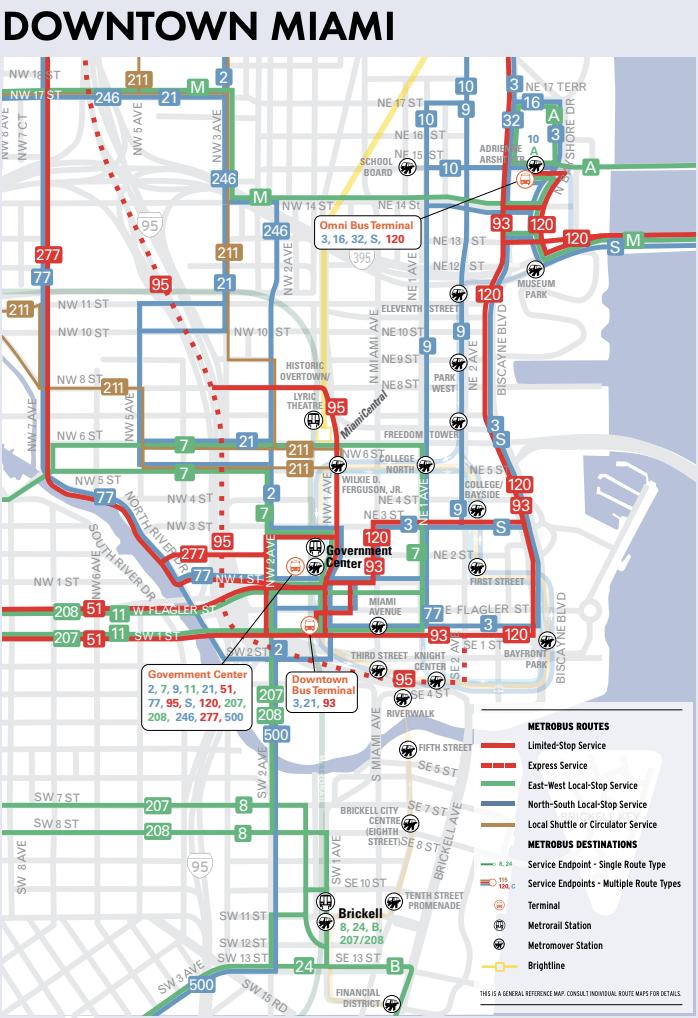 Miami, FL Bike Map Downtown 2021