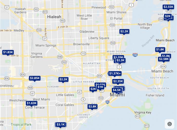 Miami, FL Trulia Rental Price Map 2021