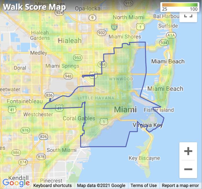 Miami, FL Walkscore Map 2021