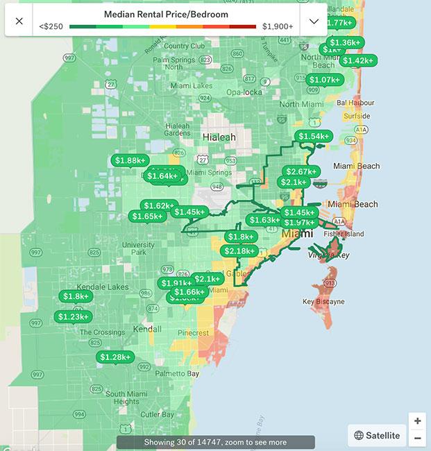 Miami Apartment Rental Map 2018