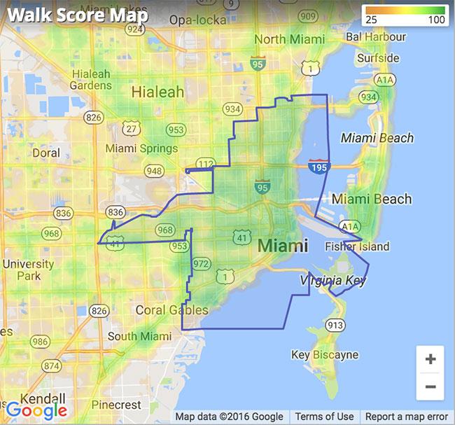 Miami, FL Walk Score Map