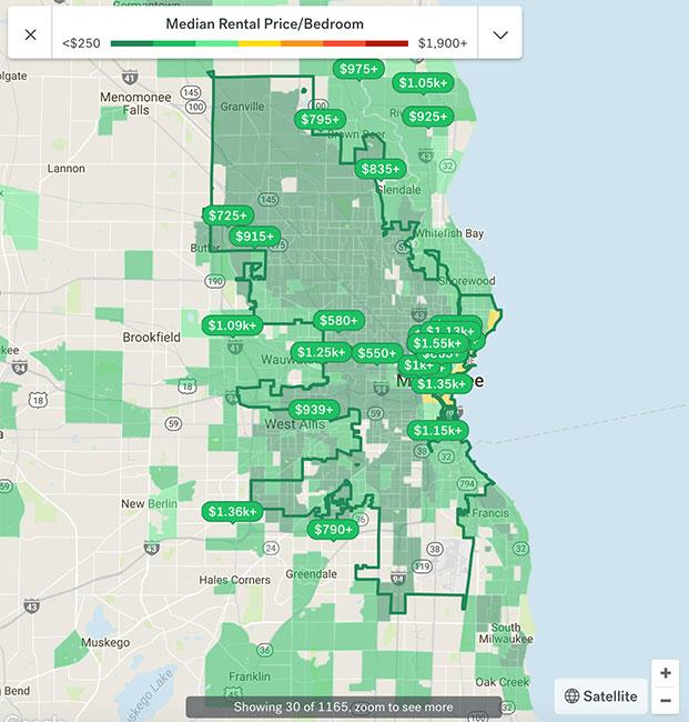 Milwaukee Apartment Rental Map 2018