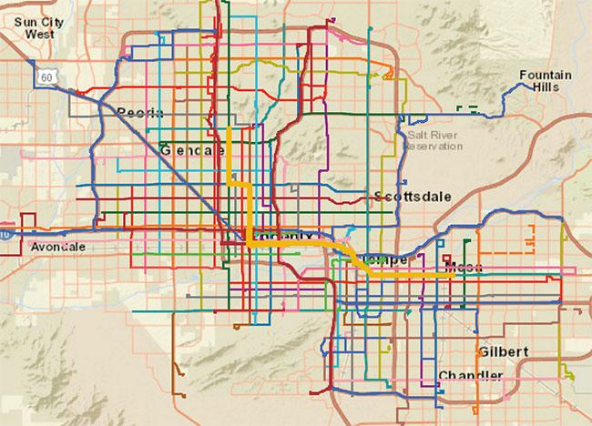 Phoenix, AZ Valley Metro Transit Map