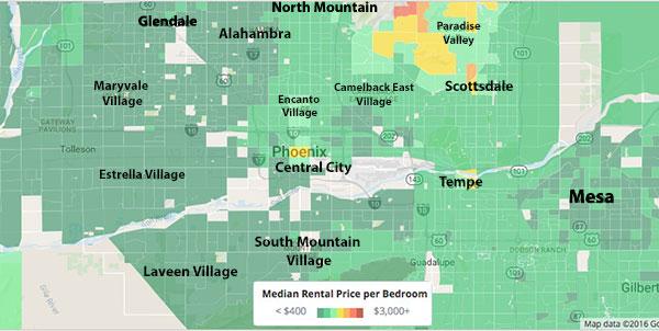 phoenix neighborhood map rental cost