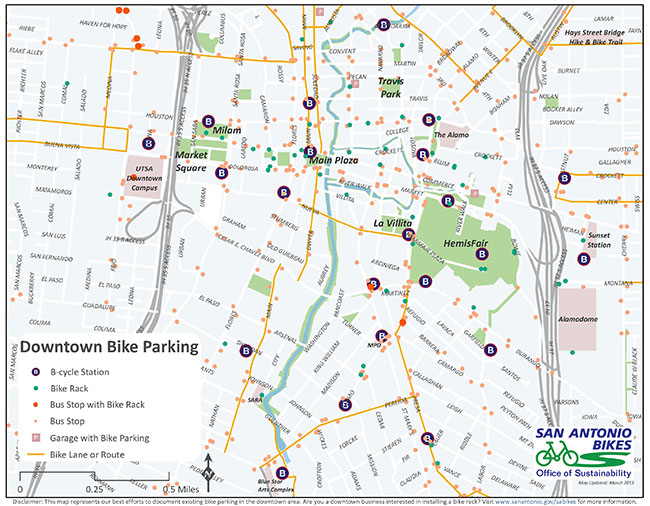 Downtown San Antonio TX Bike Parking Map