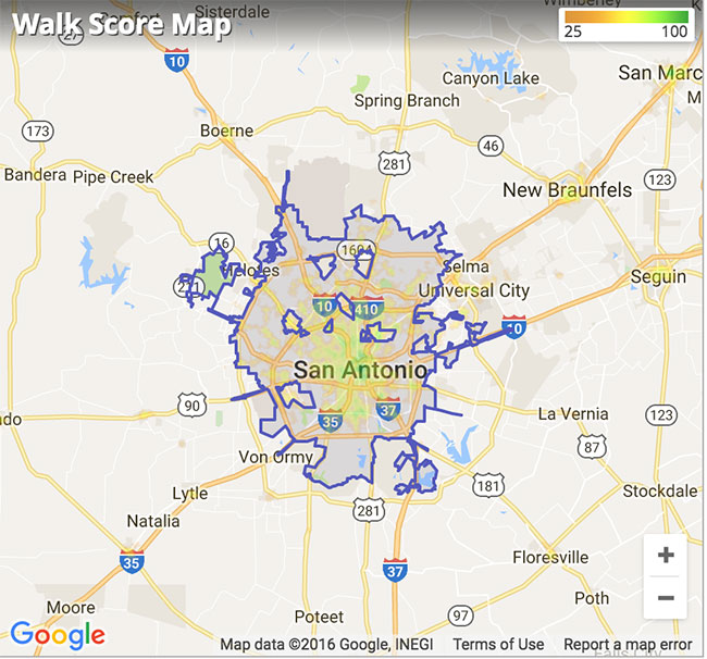San Antonio, TX Walk Score Map