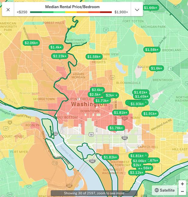Washington DC Apartment Rental Map 2018