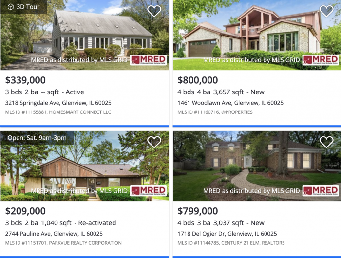 Chicago:Glenview Zillow Home Prices 2021
