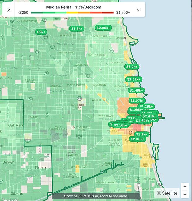 Chicago Apartment Rental Map 2018
