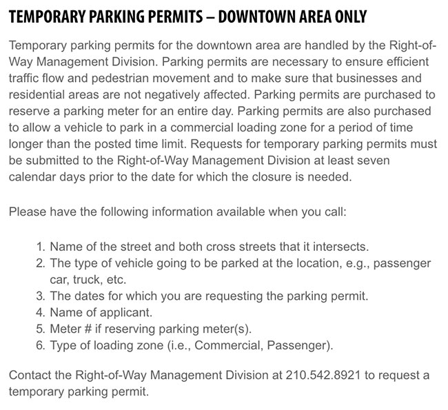 San Antonio Temporary Parking Permit Info