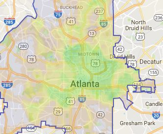 Atlanta bikescore map