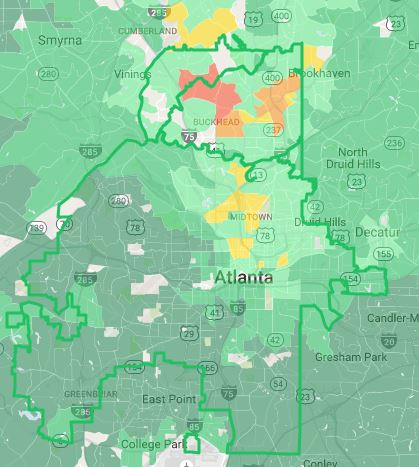 Atlanta rental hotspot map