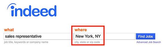 indeed specify location