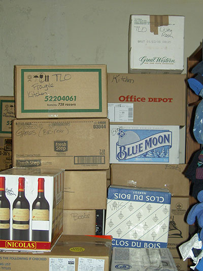 liquor store boxes stacked