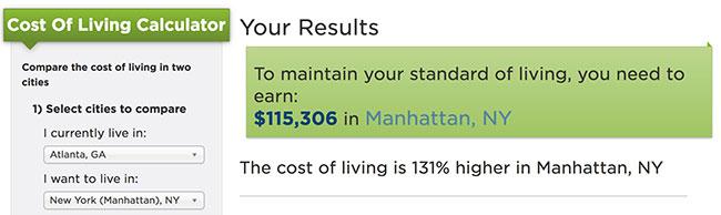 nerdwallet cost of living NYC ATL