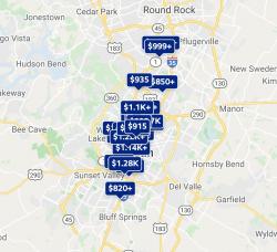 Rent Price Distribution Austin 2021