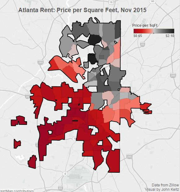 Atlanta rent price per sq ft