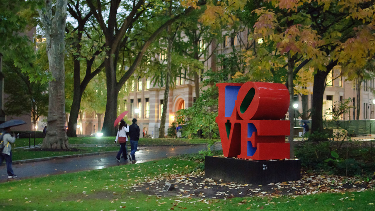 philadelphia penn campus love sign