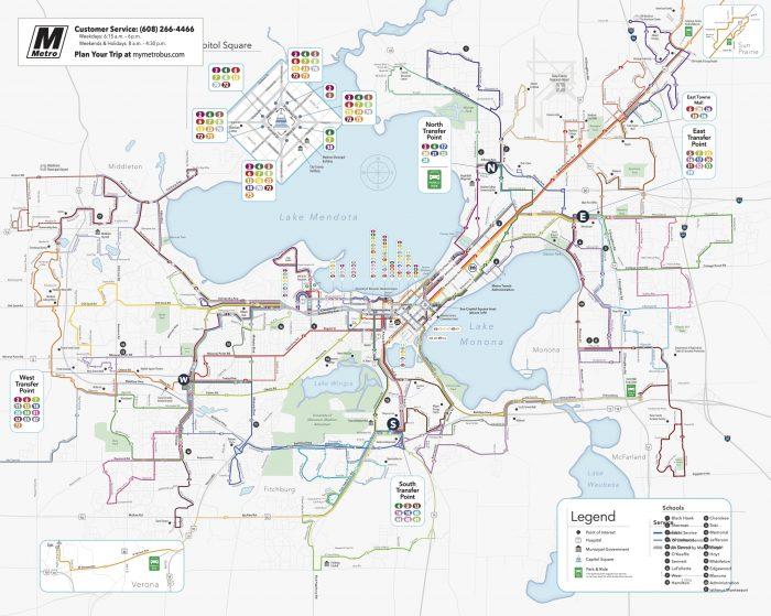 Madison, WI Weekday Metro Map 2021