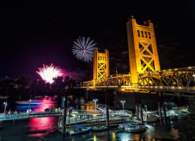 Sacramento bridge fireworks