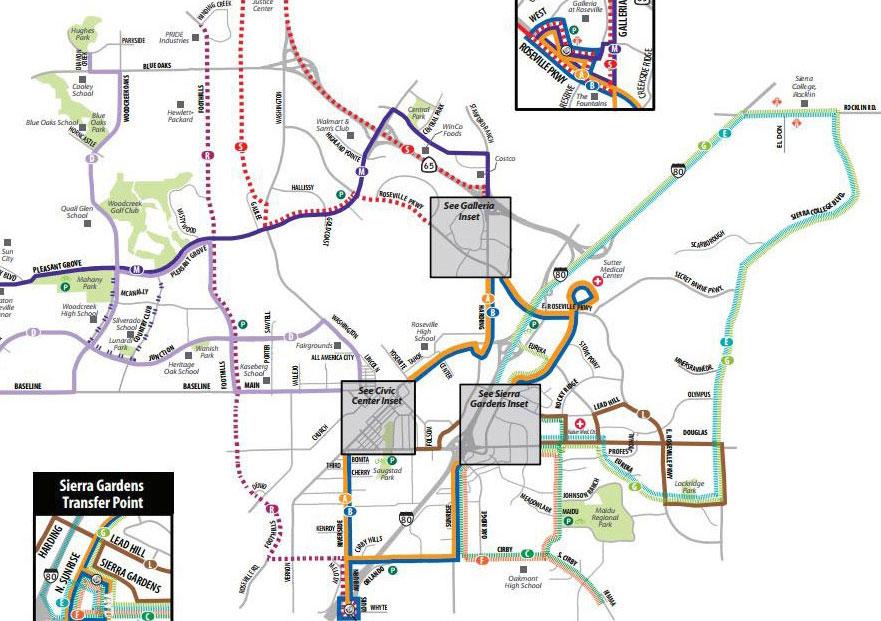Transit map Roseville CA