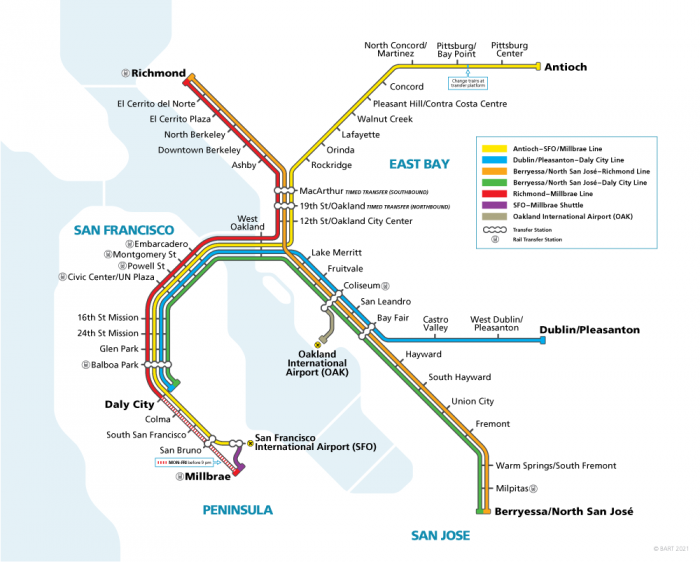 Concord CA BART Weekday Service Map 2021