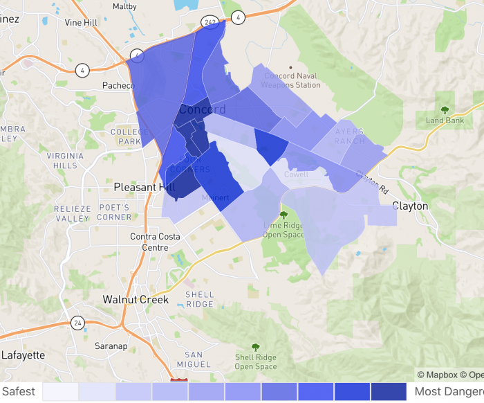 Concord CA Crime Map Neighborhood Scout 2021