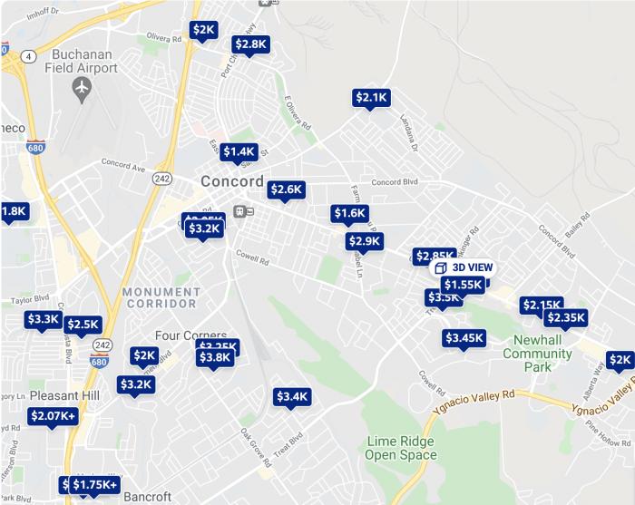 Concord CA Rental Map Trulia 2021