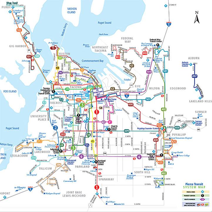 Tacoma Bus Map