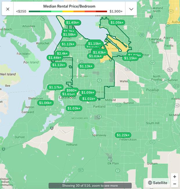 Tacoma Apartment Rental Map 2018
