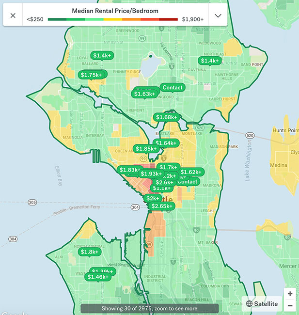 Seattle Apartment Rental Map 2018