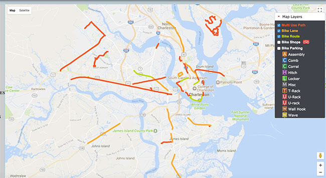 Charleston Bike Map