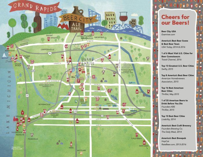 Grand Rapids Beer Map Color 2021