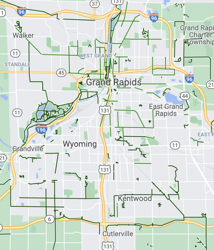 Grand Rapids MI Bike Routes Google 2021