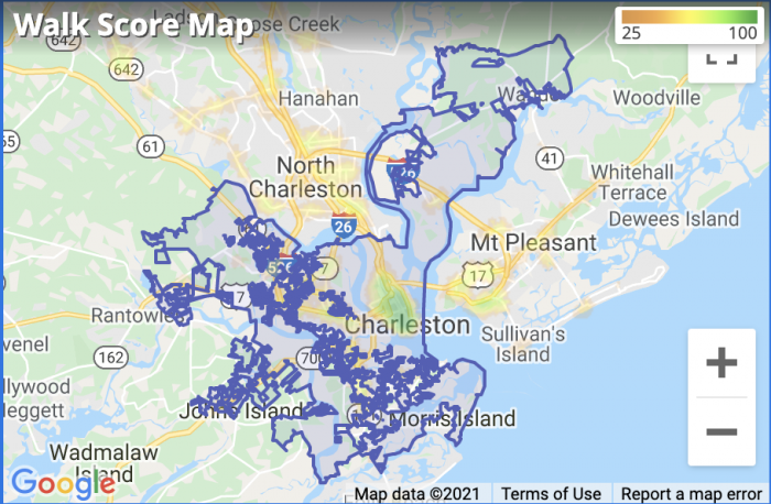 Charleston WalkScore Map 2021