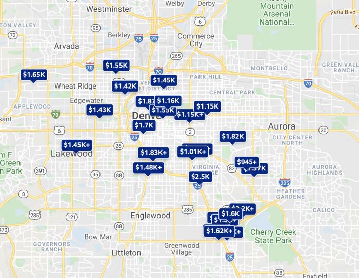 Denver CO Rental Price Map Trulia 2021