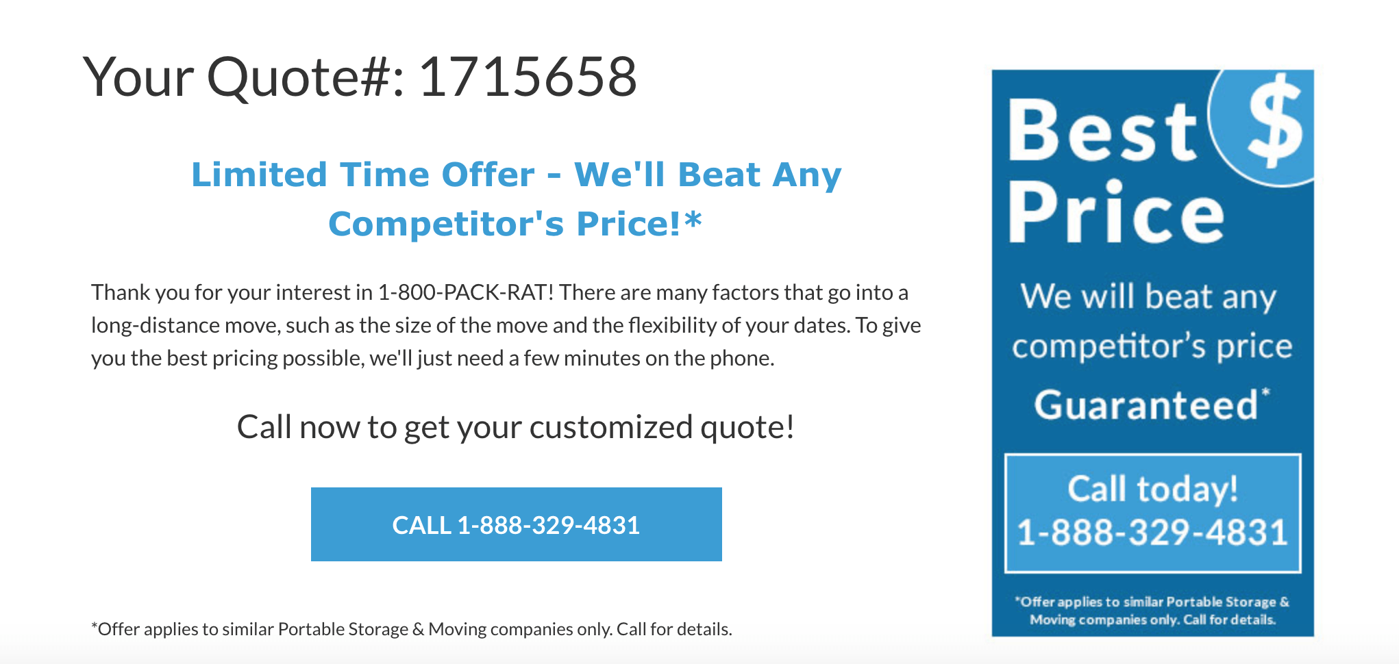 Getting a Quote and Booking with 1-800-PACK-RAT
