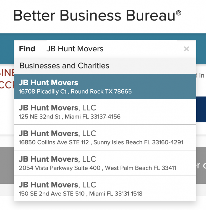 JB Hunt Movers on the Better Business Bureau