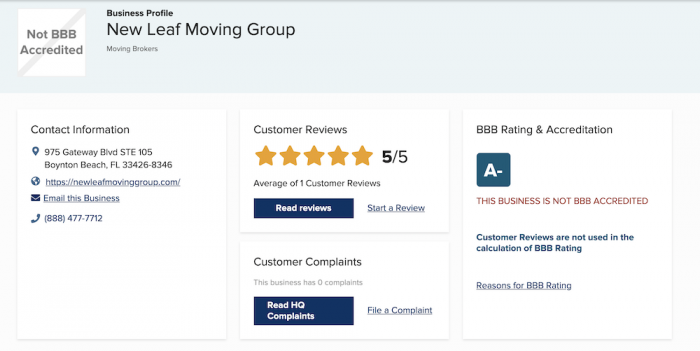 New leaf moving group reviews BBB rating