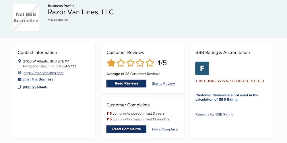 razor van lines bbb rating