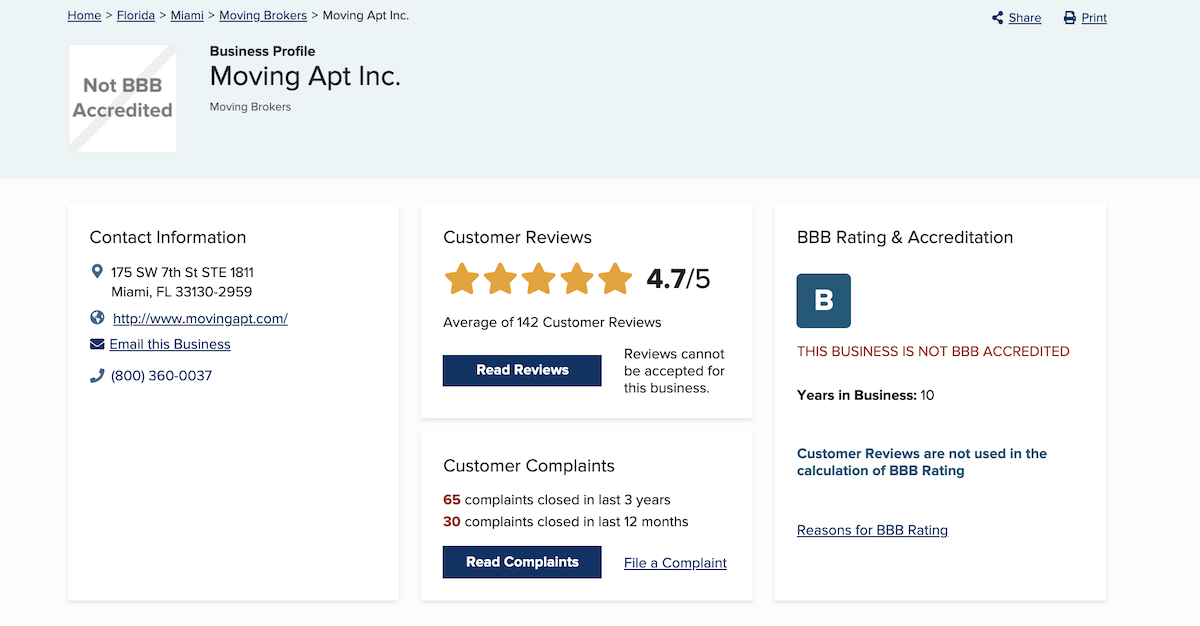 moving apt bbb review